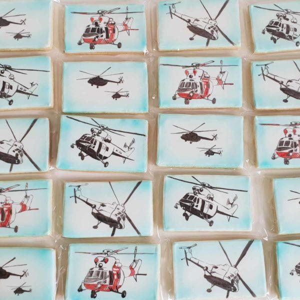 Lukrowane ciasteczka z grafiką, ręcznie malowane pierniki, podziękowania dla gości, helikopter, PZL świdnik - Basia sweets