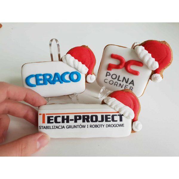 Pierniki świąteczne, logo w czapce mikołaja, pierniczki bożonarodzeniowe dla firm, pierniki reklamowe - Basia sweets