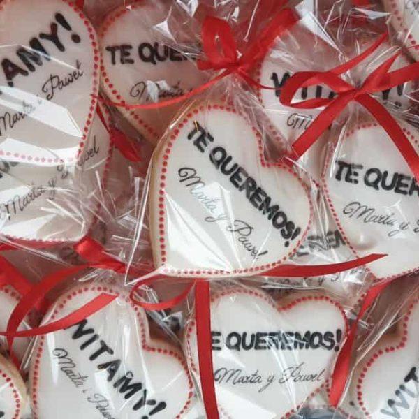 Ciasteczka ślubne, podziękowania dla gości, te queremos, ciastka reklamowe, słodycze reklamowe, materiały promocyjne lukrowane ciasteczka Basia sweets