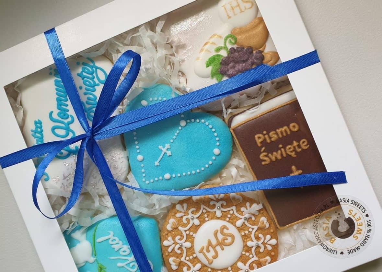 Zestaw ciasteczek, Pierwsza Komunia Święta, ciasteczka na komunię, pamiątka pierwszej komunii - Basia sweets