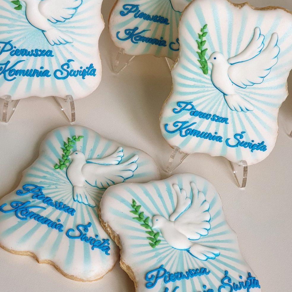 Ciasteczka komunijne, podziękowanie dla gości komunia, Lukrowane ciasteczka Basia sweets