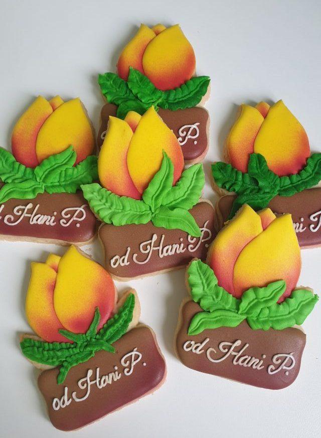 Podziękowania dla nauczyciela -Tulipan z imieniem, Koniec roku szkolnego, podziękowanie dla nauczyciela, Lukrowane ciasteczka Basia sweets