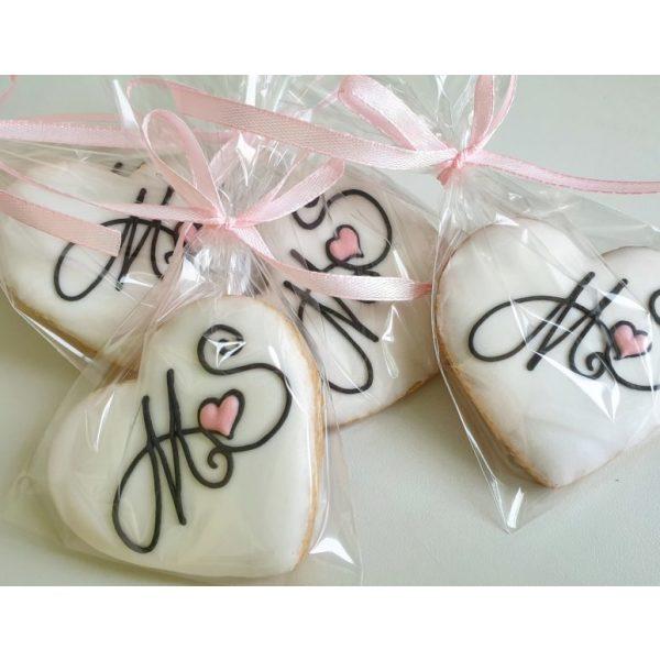 Ciasteczka ślubne z inicjałami, ciastka z inicjałami, podziękowania ślubne dla gości, lukrowane ciasteczka na wesele Basia sweets