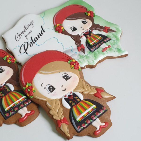 pierniki dekoracyjne, pamiątka z polski, strój ludowy, strój łowicki, Łowicz, pierniki Polska, lukrowane pierniki - Basia sweets,