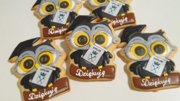 Obrona doktoratu, podziękowanie dla profesora, podziękowania dla gości, lukrowane ciasteczka Basia sweets