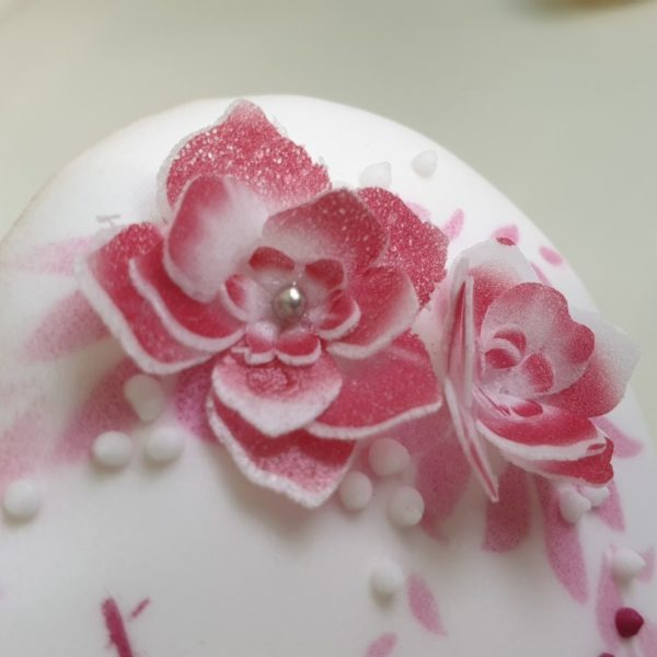 Ciasteczka na chrzest, podziękowania dla gości na chrzest, kwiaty z papieru waflowego, Lukrowane ciasteczka Basia sweets