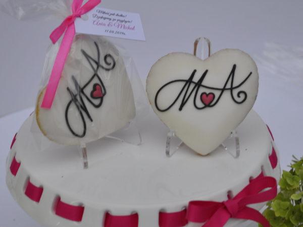Ciasteczka ślubne z inicjałami, podziękowania dla gości na ślub, podziękowania na ślub, lukrowane ciasteczka - Basia sweets