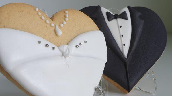 Ciasteczka ślubne, podziękowania dla gości na ślub, podziękowania na ślub, lukrowane ciasteczka - Basia sweets