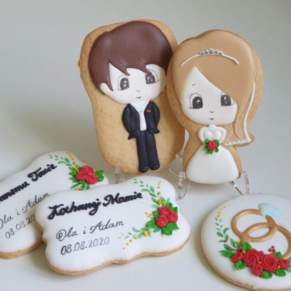 Ciasteczka ślubne Pan Młody Pani Młoda, podziękowania dla rodziców na ślub, podziękowania na ślub, lukrowane ciasteczka - Basia sweets