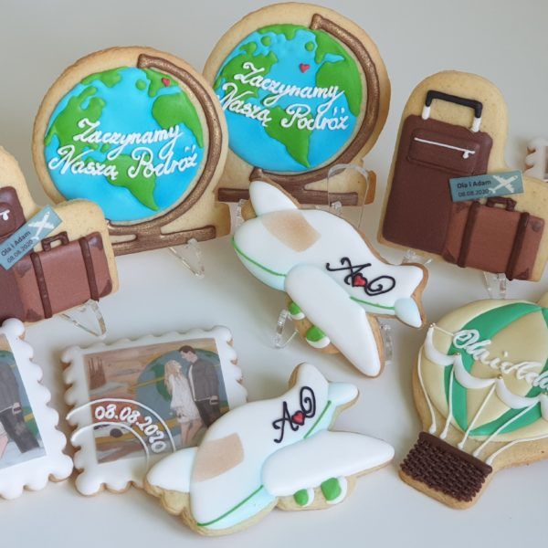 Ślubne ciasteczka podróżnicze, podziękowania dla gości na ślub, podróżnicze podziękowania na ślub, lukrowane ciasteczka - Basia sweets