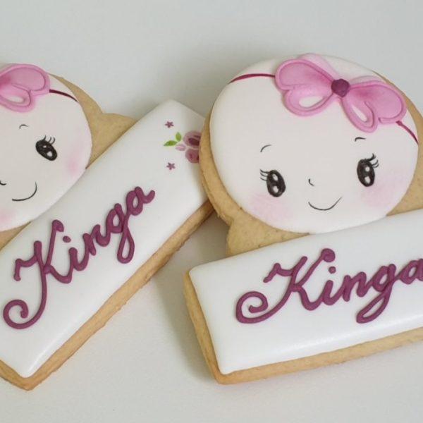 Ciasteczka na chrzest, dla dziewczynki, podziękowania dla gości na chrzest, Lukrowane ciasteczka Basia sweets