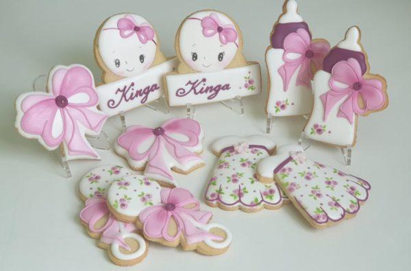 Zestaw ciasteczek na chrzest, prezent na chrzest, ciasteczka na chrzest dla dziewczynki, lukrowane ciasteczka - Basia sweets