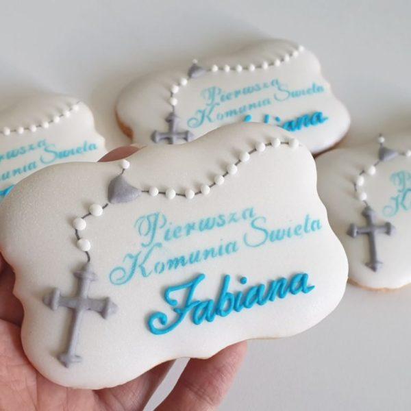 Ciasteczka komunijne z różańcem, Ciasteczka na komunię, pierniczki na komunię, podziękowania komunijne, ciastka komunijne, personalizowane pierniczki, lukrowane ciasteczka na zamówienie - Basia sweets