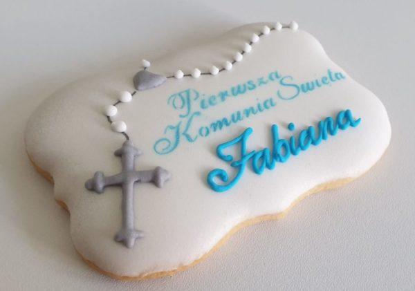 Ciasteczka na komunię, pierniczki na komunię, podziękowania komunijne, ciastka komunijne, personalizowane pierniczki, lukrowane ciasteczka na zamówienie - Basia sweets