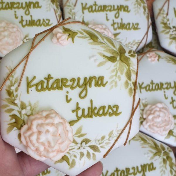 Ciasteczka ślubne, pierniki ślubne, ręcznie dekorowane pierniki, podziękowania ślubne, podziękowania ślubne dla gości, lukrowane ciasteczka na wesele Basia sweets