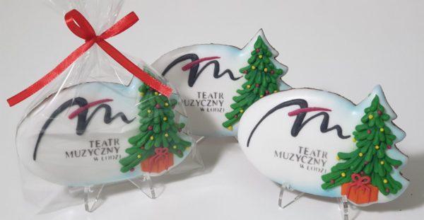 logo z choinką, pierniki reklamowe, ręcznie dekorowane pierniki bożonarodzeniowe, lukrowane pierniczki, świąteczne pierniki, pierniki ozdobne, pierniczki personalizowane - basia sweets
