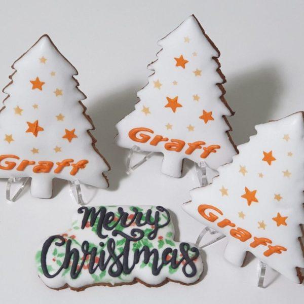 Pierniki świąteczne, choinka z logo, pierniczki bożonarodzeniowe dla firm, pierniki reklamowe, ręcznie dekorowane pierniki bożonarodzeniowe, lukrowane pierniczki, pierniczki personalizowane - Basia sweets