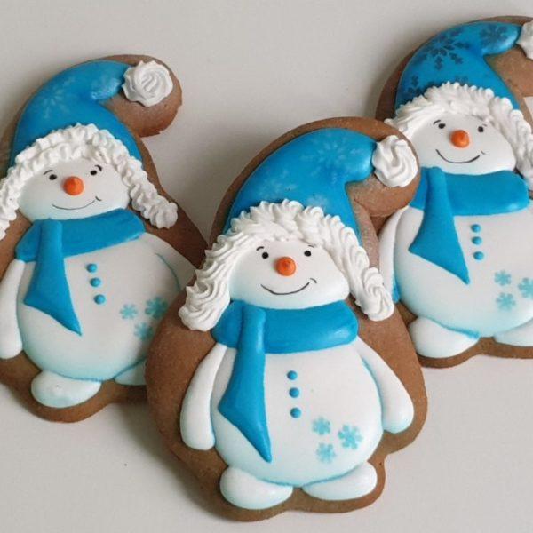 pierniki bożonarodzeniowe, lukrowane pierniczki, pierniki bałwanki, bałwanek, świąteczne pierniki, pierniki ozdobne, ręcznie dekorowane, pierniczki personalizowane - Basia sweets
