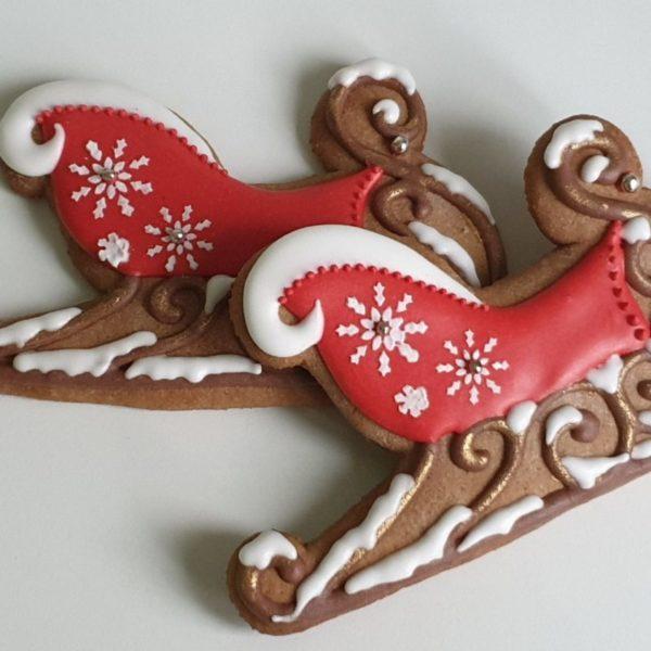 pierniki bożonarodzeniowe, lukrowane pierniczki, pierniki sanie Mikołaja, świąteczne pierniki, pierniki ozdobne, ręcznie dekorowane, pierniczki personalizowane - Basia sweets