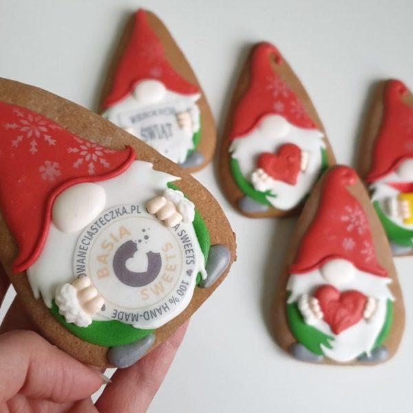 pierniki reklamowe, Krasnal z Logo, ręcznie dekorowane pierniki, lukrowane pierniczki, krasnal z logo, świąteczne pierniki, pierniki ozdobne, pierniczki personalizowane - Basia sweets