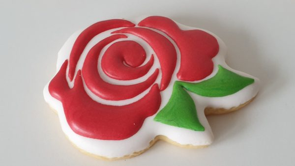 ciasteczka walentynkowe, róża, pierniczki na walentynki, kwiat z piernika, lukrowane ciasteczka na walentynki Basia sweets