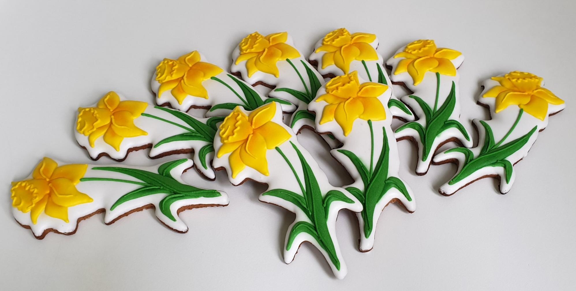 Ciasteczka Wielkanocne - żonkil, kwiaty, narcyz, ciasteczka wielkanocne, dekoracje wielkanocne, lukrowane ciasteczka Basia sweets